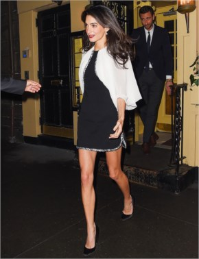 Amal Alamuddin flaunts her long legs in a black minidress while leaving Babbo Ristorante in New York City on April 3