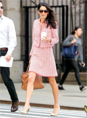 Amal Alamuddin Grabs Coffee in a Pink Tweed Suit