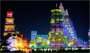 Amazing ice sculptures in China at the Harbin Festival 2014: A colored village