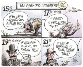 An Age Old Argument – Science Skepetism..A Political Cartoon About The Argument Against Global Warming