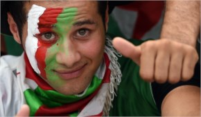 An Algerian fan is pictured prior to a Group H football match between Algeria and Russia at the Baixada Arena in Curitiba during the 2014 FIFA World Cup.