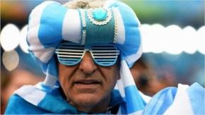 An Argentina fan is seen prior to the 2014 FIFA World Cup Brazil