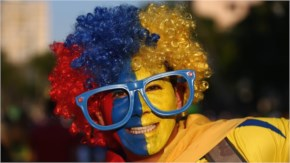 An Ecuador fan enjoys the atmosphere prior to the 2014 FIFA World Cup Brazil