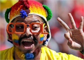 An Ecuadorean fan gestures before the Group E World Cup soccer match between Switzerland and Ecuador at the Estadio Nacional in Brasilia, Brazil