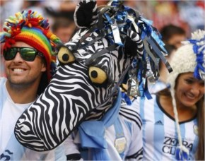 Argentina fans cheer before the 2014 World Cup quarter-final