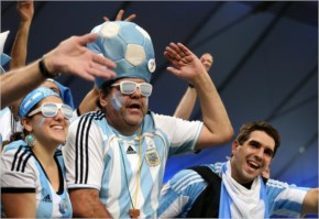 Argentina fans cheers on their side in the stands fifa world cup 2014 Brazil