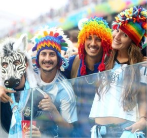 Argentina fans enjoy the atmosphere during the 2014 FIFA World Cup Brazil Semi Final match between the Netherlands and Argentina at Arena de Sao Paulo