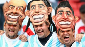 Argentina fans show their colours ahead of the 2014 FIFA World Cup Brazil Group F match between Nigeria and Argentina