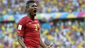 Asamoah Gyan of Ghana celebrates scoring his team's second goal during the 2014 FIFA World Cup Brazil Group G match between Germany and Ghana at Castelao  in Fortaleza, Brazil.