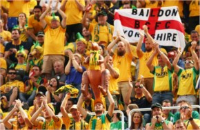 Australia Fans Cheer During The 2014 FIFA World Cup Brazil Group B Match Between Australia And Spain