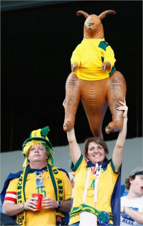 Australia fans hold up an inflatable kangaroo prior to the 2014 FIFA World Cup Brazil