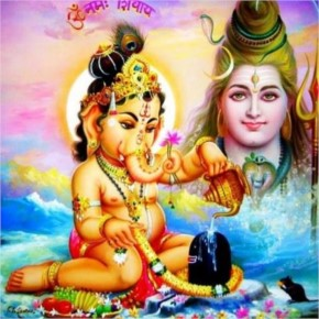 Bal Ganesha with shiva