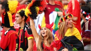 Belgium fans enjoy the atmosphere prior to the 2014 FIFA World Cup Brazil Group H match between Belgium and Russia