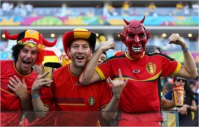 Belgium fans pose during the 2014 FIFA World Cup Brazil