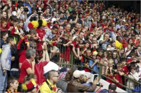 Belgium's supporters attend the last training session of Belgium's national team, the Red Devils, before their departure for the 2014 FIFA World Cup in Brazil