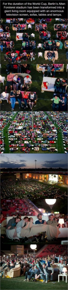 Berlin's Alten Forsterei stadium has been transformed into a giant living room during world cup