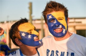 Bosnia and Herzegovina fans pose in front of the Maracana stadium for the FIFA World Cup 2014