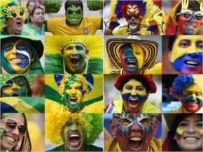 Brazil and Colombia Fans Flaunt Their Colors for the World