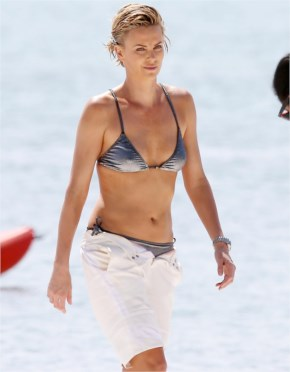 Charlize Theron Models Four Sexy Swimsuits on Beach in Miam