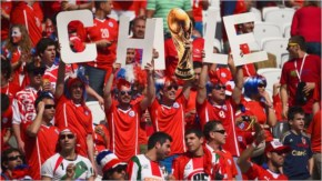 Chile fans enjoy the atmosphere prior to the 2014 FIFA World Cup Brazil