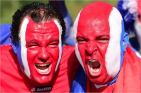 Costa Rica's fans cheer Costa Rica and Greece at Pernambuco Arena in Recife during the 2014 FIFA World Cup