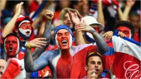Costa Rica fans cheer prior to the 2014 FIFA World Cup Brazil Quarter Final match between the Netherlands and Costa Rica
