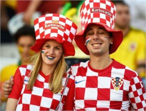 Croatia fans pose before the Brazil-Croatia match at Arena de Sao Paulo