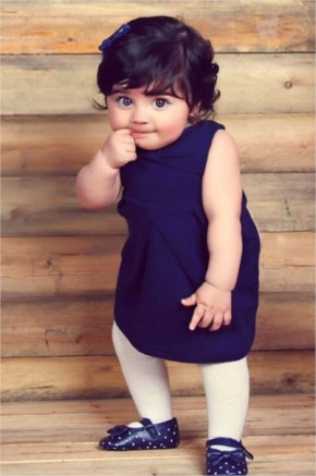cute Baby in blue dresses