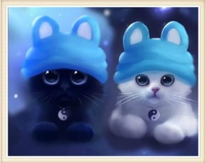 Cute Cat image-Wearing hat and pendent