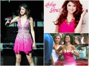Cute Selena Gomez Hot Photos in Pink Dress