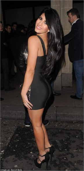 Daring to bare: The TOWIE cast-member looked very glamorous but failed to wear