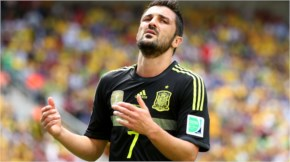 David Villa of Spain reacts to a missed opportunity during the 2014 FIFA World Cup Brazil Group B match between Australia and Spain at Arena da Baixada