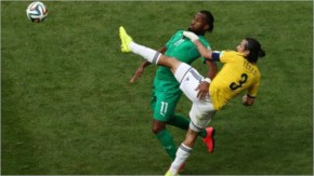 Didier Drogba of the Ivory Coast competes for the ball with Mario Yepes of Colombia during the 2014 FIFA World Cup Brazil