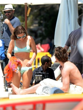 Emilia Clarke in Baby Blue Bikini on set of Me Before You at Spain