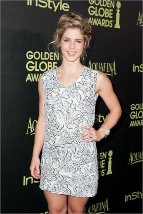 Emily Bett Rickards at HFPA and InStyles Celebration of the 2015 Golden Globe Award Season in West Hollywood