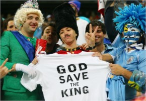 English fans pose during the 2014 FIFA World Cup Brazil