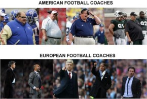 European football coaches vs. American football coaches