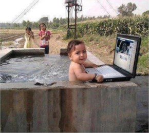 Even kids use Facebook, You can see Small Kid opening Facebook