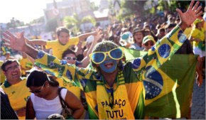 Fans of Brazil cheer outside he stadium during a training session of the Brazilian national team, in Fortaleza, Brazil