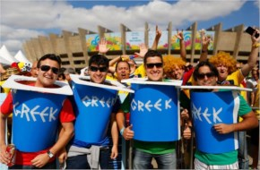 Fans of Greece pose before the 2014 FIFA World Cup Brazil