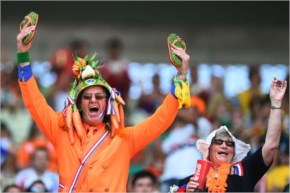 Fans of the Netherlands enjoy the atmosphere prior to the 2014 FIFA World Cup Brazil