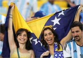 Fans pose for photos during a Group F match between Argentina and Bosnia and Herzegovina at the Estadio de Maracana Stadium