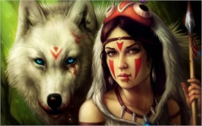 Fantasy Art Girl and Wolf