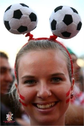Fifa world cup 2014 crazy female fan Balls on her head