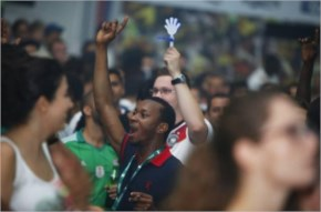 Fifa world cup 2014 faces French and Nigerian Soccer fans in Dubai cheer