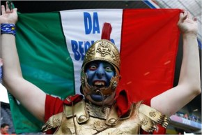 Fifa world cup He was blue because his team lost Blue Roman soldier