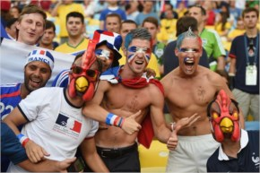 France fans enjoy the atmosphere prior to the 2014 FIFA World Cup Brazil Group E match between Ecuador and France at Maracana