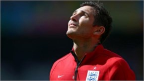 Frank Lampard of England looks on during the National Anthem prior to the 2014 FIFA World Cup Brazil