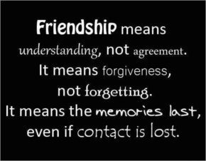 Friendship means understanding, not agreement