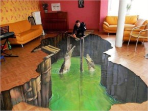 Funny 3D Street Art painted in living room